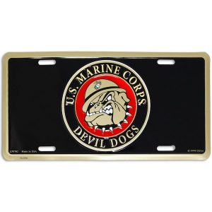Black US Marine Corps Devil Dogs License Plate