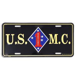 Black USMC 1st Dvision License Plate