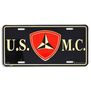 Black USMC 3rd Dvision License Plate