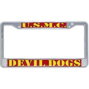 Red and Yellow USMC Devil Dogs License Plate Frame