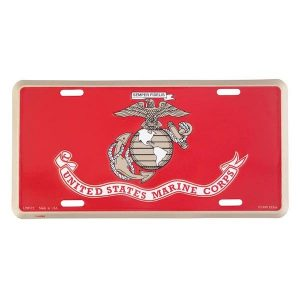 Red License Plate for United States Marine Corps with EGA