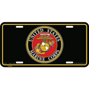 United States Marine Corps Emblem Black License Plate