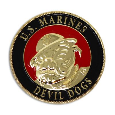 Black and Red United States Marine Corps Devil Dogs Coin