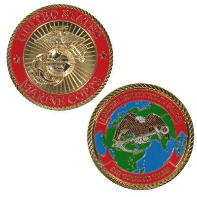 Red 1st Marine Expeditionary Force Challenge Coin