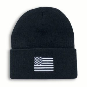 Black Watch Cap Beanie with Black and White American Flag