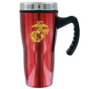 Metallic Red Travel Coffee Mug with Yellow Eagle Globe and Anchor