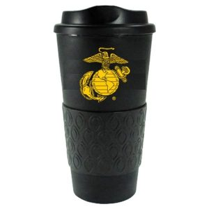 Black and Gold Eagle Globle and Anchor Grip-N-Go Travel Mug