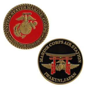 Red and Black Marine Air Station Iwakuni Japan Coin