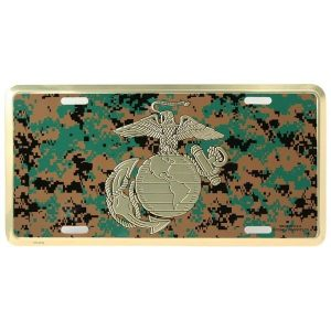 USMC EGA Gold and Woodland Digital Camo License Plate