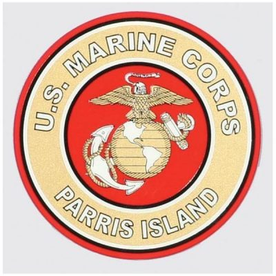 Red and Gold US MCRD Parris Island Decal