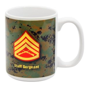 Woodland Digital Camo Marine Staff Sergeant Rank Mug