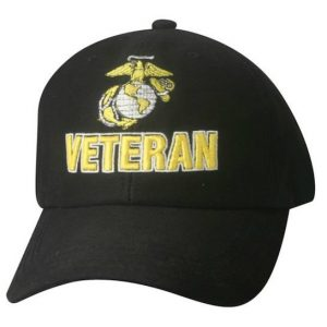 Black and Gold Veteran Eagle Globe and Anchor Hat