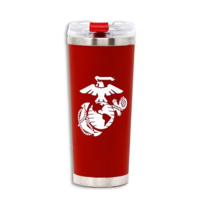 Marines Red Stainless Steel Travel Tumbler with White EGA