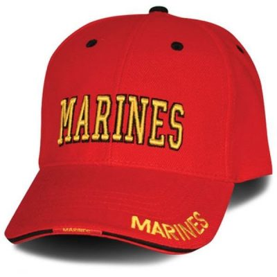 Red Marines Hat with Black Accents