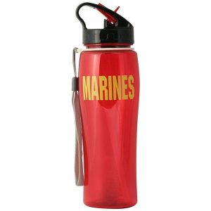 Red Flip Top Lid Marines Water Bottle