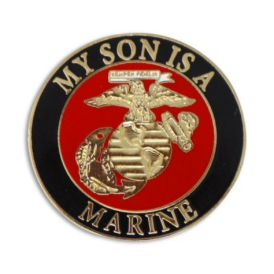 Black and Red My Son is a Marine Enamel Pin