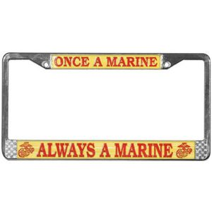 Red and Gold Once A Marine Always A Marine Chrome License Plate Frame