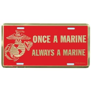 Red and Gold EGA Once a Marine Always a Marine License Plate
