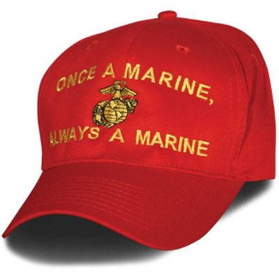 Red and Gold Once a Marine Hat
