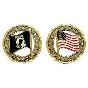 POW MIA and USA Flag Cutout Coin