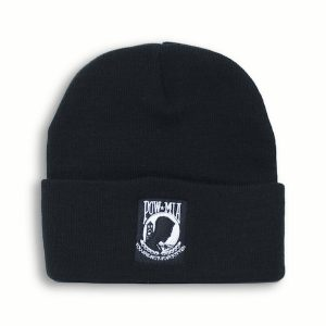 Black and White Beanie Watch Cap POW MIA