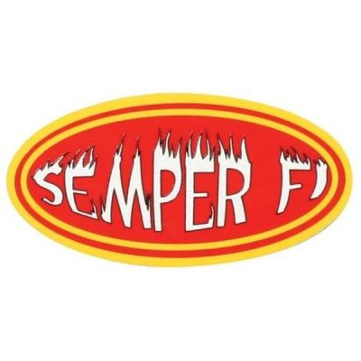 Red Flaming Semper Fi Reflective Helmet Decal