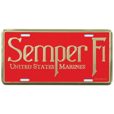 Red and Gold Semper Fi Untited Stated Marines License Plate