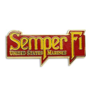 Red and Metallic Gold Semper Fi United States Marines Enamel Pin