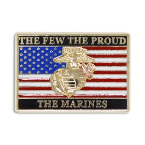 The Few the Proud the Marines EGA Over US Flag Enamel Pin
