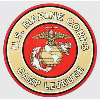 Red and Gold US Marine Corps Camp Lejeune Decal