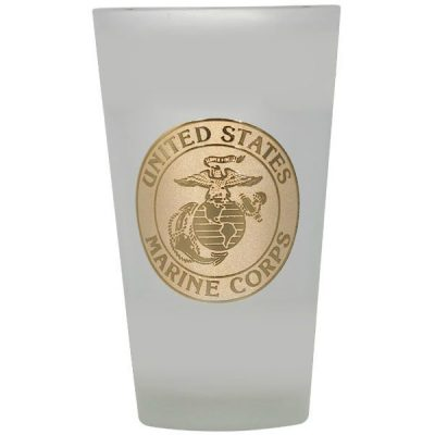 U.S. Marine Corps Gold Logo Frosted Beer Glass