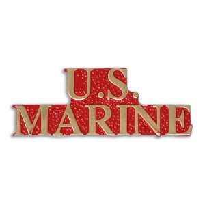 Red and Metallic Gold US Marine Enamel Pin
