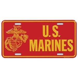 Red and Gold US Marines with EGA Outline License Plate
