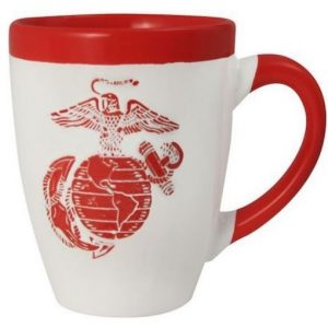 Red and White Eagle Globe and Anchor 16 Ounce Coffee Mug