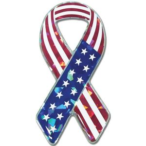 Reflective American Flag Ribbon Domed Decal