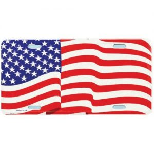 USA Wavy Flag License Plate