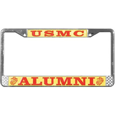 Red and Yellow USMC Alumni Chrome License Plate Frame