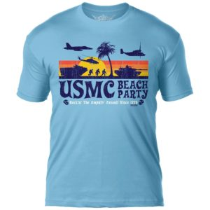Light Blue Retro USMC Beach Party Men's T Shirt Front