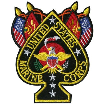 United States Marine Corps Black Ace Of Spades Patch