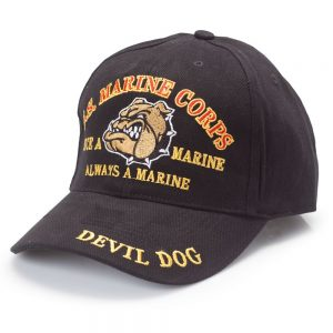 Black USMC Devil Dog Once a Marine Always a Marine Hat