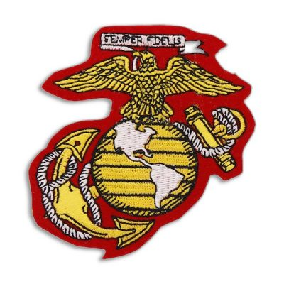 Red Gold and Whaite Eagle, Globe, And Anchor Patch