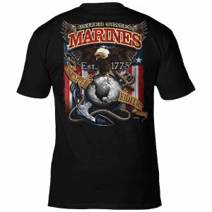 Back Fighting Eagle USMC Mens Black T Shirt