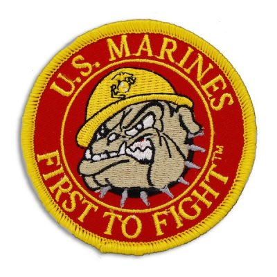 Red and Gold US Marines First to Fight Round Devil Dog Patch