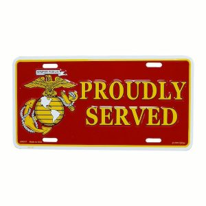 Red USMC Proudly Served License Plate
