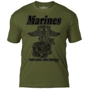 USMC Retro Army Green Mens T Shirt The Few The Proud