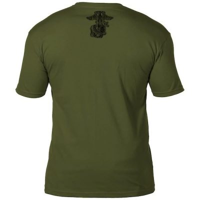 USMC Retro Army Green Mens T Shirt Back EGA Stencil