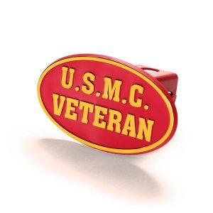 Red and Gold USMC Veteran Hitch Cover
