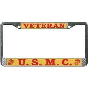License Plate Frame-USMC-2nd Marine Air Wing-Chromed Cast Metal #811706