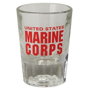 United States Marine Corps 2 oz Clear Fluted Shot Glass