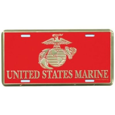 United States Marine with EGA Red and Gold License Plate